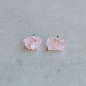 Raw Pink Quartz Stud Earrings Tiny Post Natural Rough Gemstone Minimal Rose Gift For