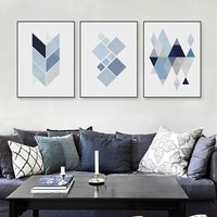 Modern Abstract Geometric Shape A4 Art Print Poster Blue Wall Picture Nordic Living Room Home Deco Canvas Painting No Frame Gift