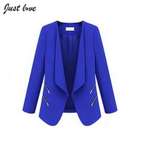 Blazer Feminino 2016 Spring Autumn European Style Women Solid Slim Suit Zipper Blazer Office Blazer Female Jacket Casual Outwear