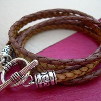 Mens, Womens, Unisex, Triple Wrap Leather Bracelet with Toggle Clasp - Brown Saddle and Natural Braids