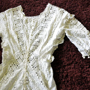 Antique Edwardian Wedding Dress // Titanic Style Dress // Petite 1800s 1910s Lawn Dress // Restore
