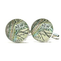 NYC Antique Map Cufflinks