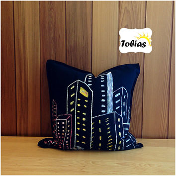 Minimalist, modern, abstract night life city pillow cover