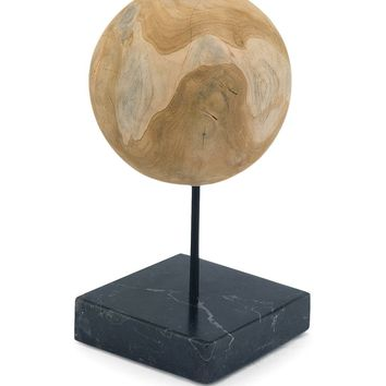 Round Teak Ball On Black Marble Base Medium Teak Wood Black Marble
