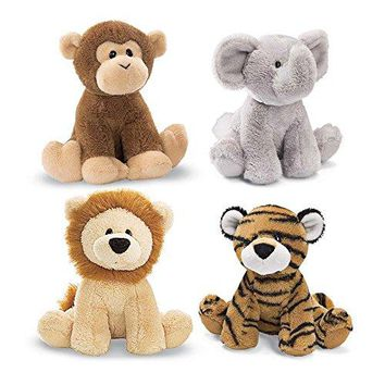 "GUND 4"" Animal Chatter Jungle Animals (Set of 4 includes Lion, Monkey, Elephant, and Tiger)"