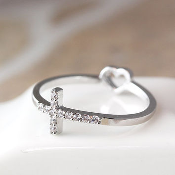 Cross Ring Rearside Tiny Heart / Love Ring Best Friend Ring Jewelry Gold Silver Gift Idea