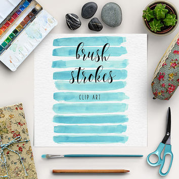 Brush Stroke Clip Art | Watercolor Digital Clipart | Hand Paint Watercolor Strokes | Graphic Design, Blog Elements | Coupon Code: BUY5FOR8