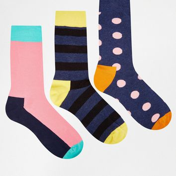 HS By Happy Socks Print Socks In 3 Pack