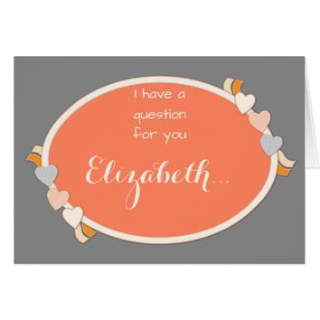 Will you be my Bridesmaid Note Card orange & grey