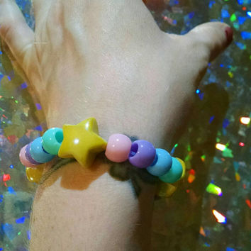 Pastel Rainbow Yellow Star Trail Stretchy Bracelet Kawaii Cosplay Fashion Jewelry