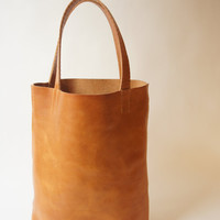 Simple Leather Tote - Cognac