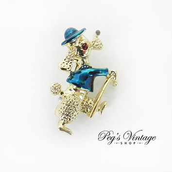 Vintage French Poodle Dog Brooch, Gerry Animal Jewelry, Scatter Pin Figural Jewelry