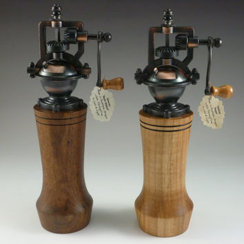 Antique Style Pepper Mill, cast metal and wood Spice Grinder, with adjustable grind Black Walnut or Maple wooden base