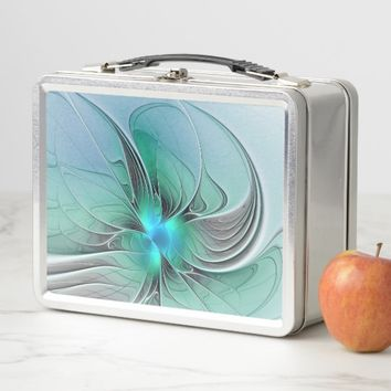 Abstract With Blue, Modern Fractal Art Metal Lunch Box