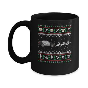 Merry Christmas Police Officer Ugly Sweater Gift Mug