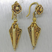 1870s Antique Victorian Estate 14k Solid Yellow Gold Filigree Hanging Earrings