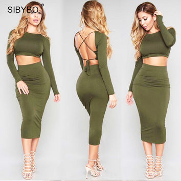 Women Winter Dress 2016  Long Sleeve Two Piece Outfits  Backless Cotton Sexy Club Wear Bandage Bodycon Party Dresses