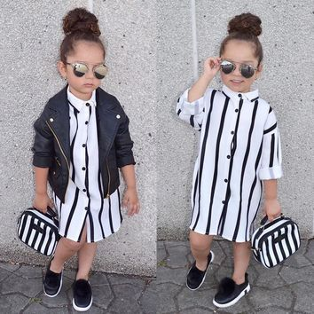 Striped Print Tunic Long Sleeves Toddler Summer Dresses