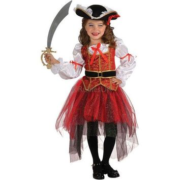 DCCKH6B Pirates costume Best Selling Party Supplies Pirate  Cosplay girl Clothing Halloween Costume For Kids Children Christmas Costume