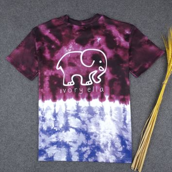 Tie Dye CUTE BABY ELEPHANT SUPREME HIGH QUALITY PRINT T-SHIRT TOP