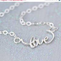 SALE Love Necklace - Sterling Silver Necklace - Love Pendant - Gift for Her - Love Jewelry - Sterling Love