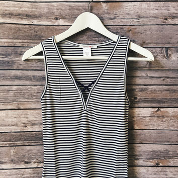Navy Striped Ribbed Tank