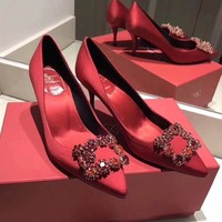 Roger Vivier Hot Sale Women Sexy Red Pointed High Heels Shoes