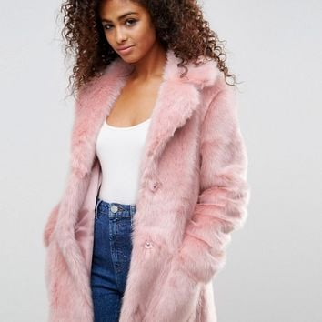 ASOS Midi Coat in Plush Faux Fur at asos.com