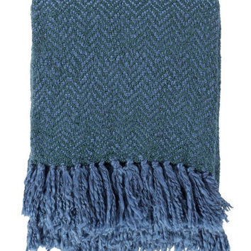 Zag Teal Blue Knit Throw