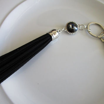 Swarovski crystal charm keychain with black seude leather tassel, crystal purse charm, key chain charm, leather key chain, tassel for key