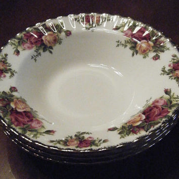 "Royal Albert Old Country Roses 8"" Rimmed Soup/Salad Bowls"