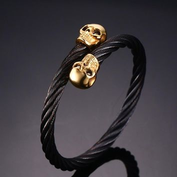 VNOX Drop Shipping Men's Double Skull Head Cuff Bangle Bracelet Punk Black Twisted Wire Cable Skeleton Stainless Steel Jewelry