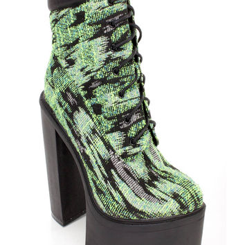 Green Lace Up Chunky High Heel Booties Textured Fabric