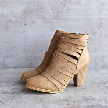 eve - strappy stacked chunky ankle bootie - rust brown