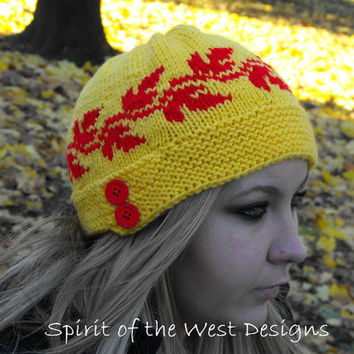 Maple Syrup Cloche / Hat - Knitting Pattern - Winter hat, toque, teens, cloche, leaves, stranded, button beanie maple earwarmer fall pattern