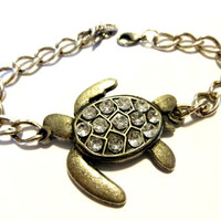Sea Turtle Bracelet, Marine Life Jewelry, Save the Turtles, Beach Theme Bracelet