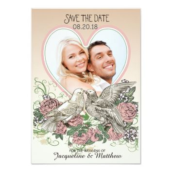 Heart Doves Rose Pink Romance Photo Save the Date 3.5x5 Paper Invitation Card