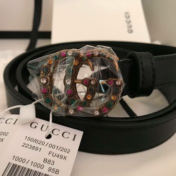 Gucci Belt Women Double GG Buckle 100% genuine leather