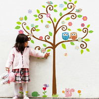 Removable Vinyl Kids Wall Decal Wall Sticker PEEL and STICK - Colorful Owls Tree 2