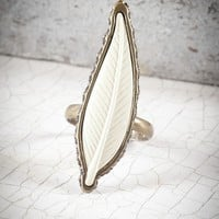 Leaf ring-cream