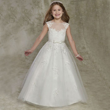 New Arrival Lace Flower Girl Dresses First Communion Dresses For Little Girls Pageant Gowns Floor Length F119