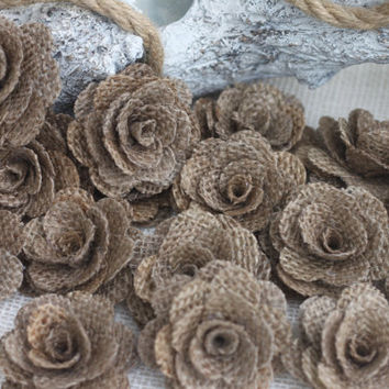 set of 7 Burlap flowers/ rustic wedding/ coastal/sea side/ beach wedding/ wreath making/ scrapbooking/ rustic decor--DARK KHAKI
