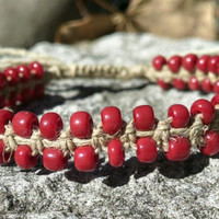 Red Adjustable Hemp Bracelet