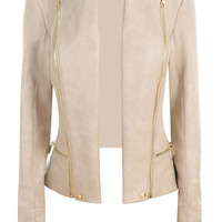 Clothing : Jackets : 'Serena' Nude Leatherette Fitted Jacket