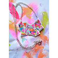 Colorful Geometric Necklace, Rainbow Chevron Hand Painted Abstract Pendant Necklace | Boo and Boo Factory - Handmade Leather Jewelry