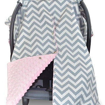Premium Carseat Canopy Cover / Nursing Cover- Large Chevron Pattern w/ Soft Pink Minky- Best Infant Car Seat Canopy for Girls | Cool/ Warm Weather Car Seat Cover | Baby Shower Gift 4 Breastfeeding Mom