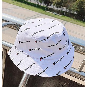 Champion Fashion Women Men Summer Full Logo Print Shade Sunhat Fisherman Hat Cap White I12420-1