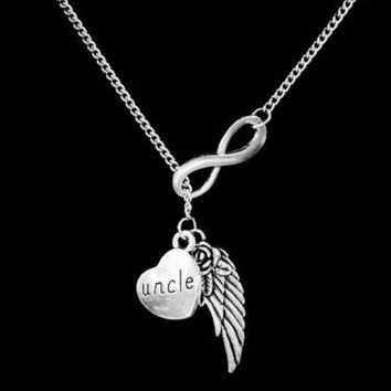 Infinity Guardian Angel Uncle Wing In Memory Heaven Y Lariat Necklace