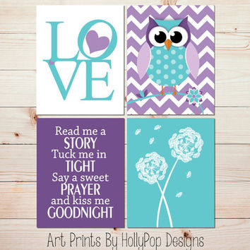 Nursery Decor Toddler Girls Room Purple Aqua Wall art Dandelion Botanical Print Woodland Owl Nursery Print Ready Me A Story LOVE Print #0797