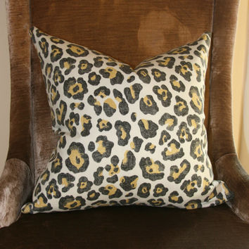 "Grey & tan cheetah decorative throw pillow cover. 18"" x 18"" pillow cover. Animal print pillow."